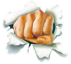 Build my own future - drawing of a fist bursting through a white sheet of paper