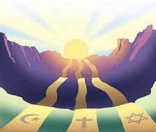 Muslims, Jews, Christians - Cresent, Cross and Star of David depicted on banners of gold draped across hills with the sun beaming behind