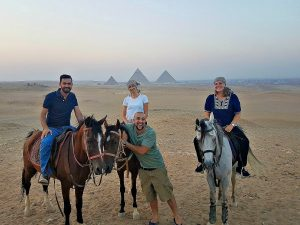 Brooke Templin, female expat Oman, at the pyramids with friends