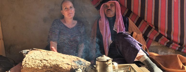 Journey back to the Middle East - Sabina Lohr with Sheikh Sabah having morning coffee in front of a fire in Hemaid's arisha
