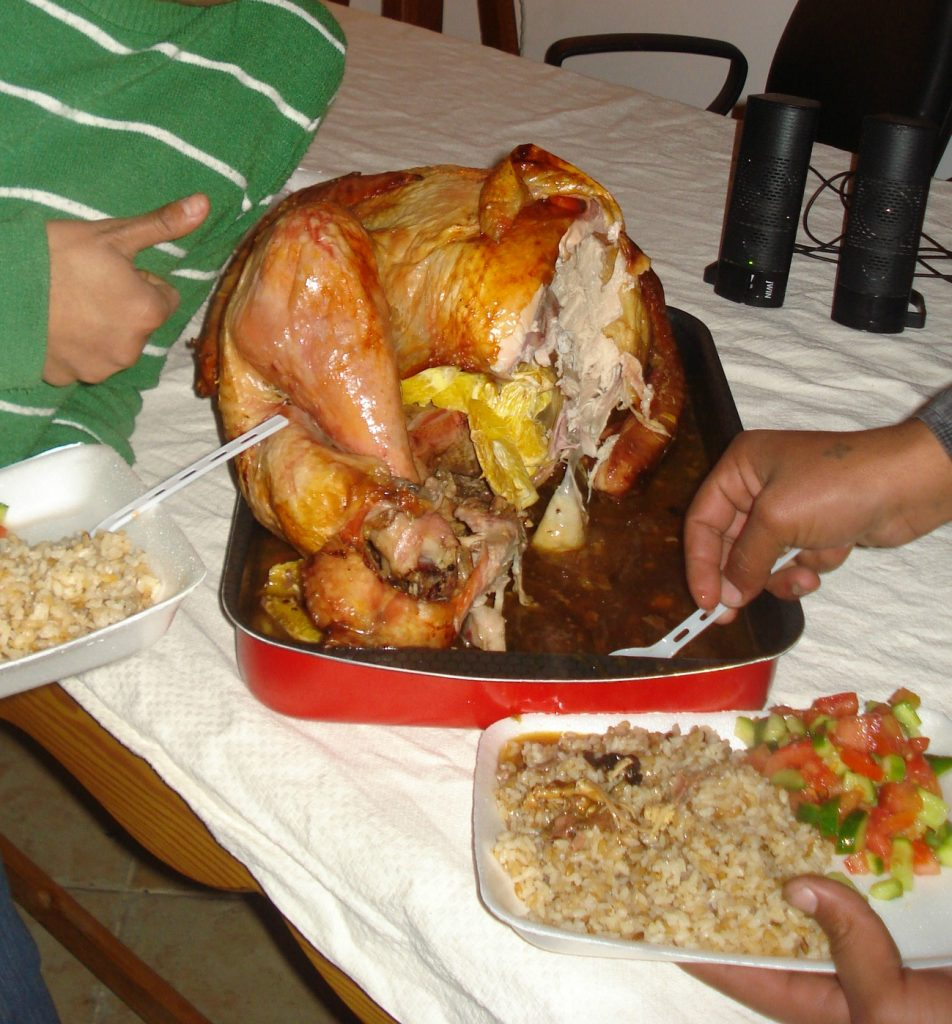Christmas in Egypt - the Christmas turkey along with rice and vegetables