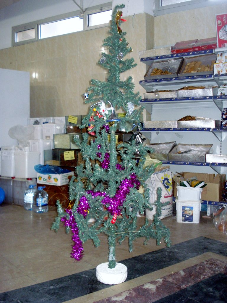 Christmas tree in a supermarket in Dahab for Christmas in Egypt