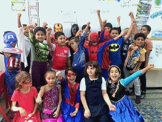 Female expat in Oman Brooke Templin's students