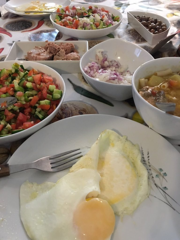Homemade Israeli breakfast during one of my yearly trips to the Middle East