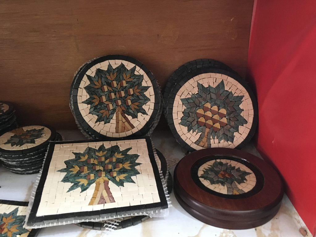 Tree of Life mosaics in a workshop in Madaba, Jordan where I met a man from Idlib