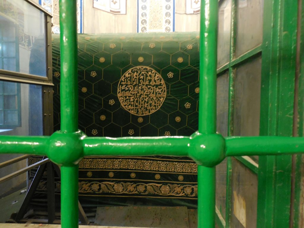 Kibbutz Beit Zera - tomb of abraham - large oblong tomb with green and gold covering