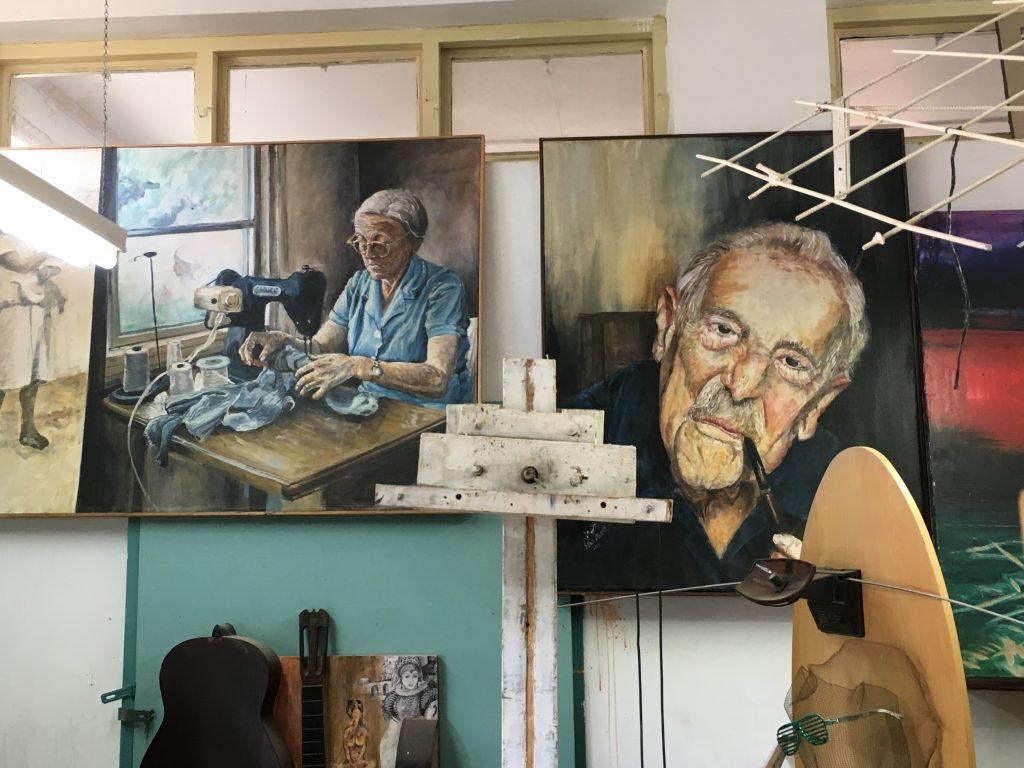 Two paintings by Kibbutz Beit Zera artist Eitan Arnon