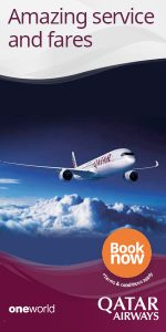 Qatar Airways amazing service and fares banner